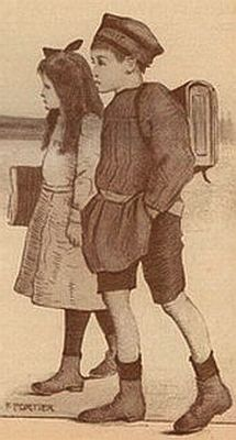 ecoliers portant  cartables , tabliers s_'en allant a l_'ecole